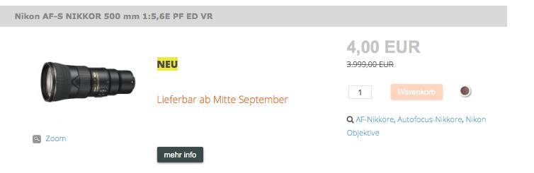 Screenshot eines besonderen Angebots für ein Nikon - Tele - Objektiv