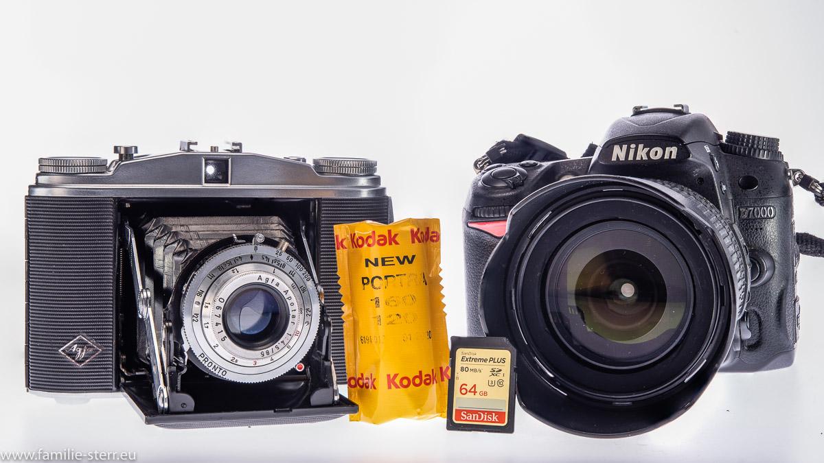 Agfa Isolette II mit 120er Rollfilm und Nikon D7000 mit SD-Karte