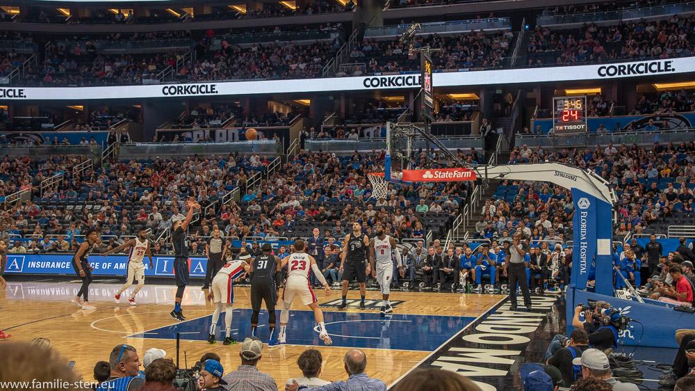 Szene aus dem NBA - Spiel Orlando Magic - Detroit Pistons