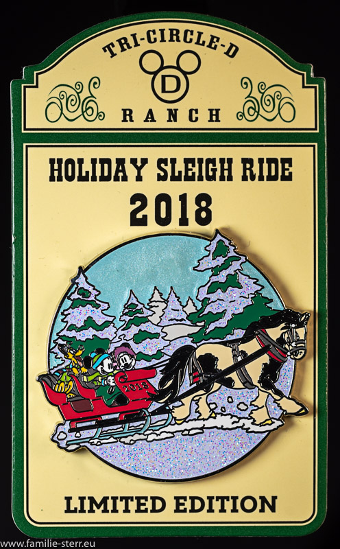 Holiday Sleigh Ride Pin 2018 - Limited Edition, Disney World, Florida