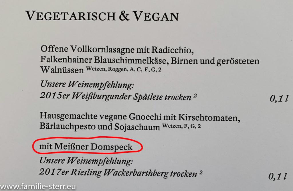 Speisekarte für Vegetarier und Veganer