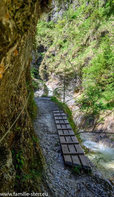 Wanderweg am Fels über dem Almbach in der Almbachklamm bei Marktschellenberg