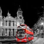 Ein roter Doppeldeckers der Linie 17 nach Archway vor der St. Paul's Cathedral bei Nacht / Bild in schwarz-weiß mit rotem Bus