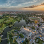 Olympiapark bei Sonnenuntergang