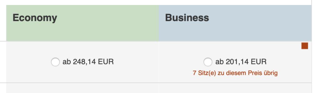Preis für Economy - Flug oder Business Class