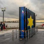 neun Panele des Holocaust - Memorial in New Orleans im Woldenberg Park formen den Davidsstern