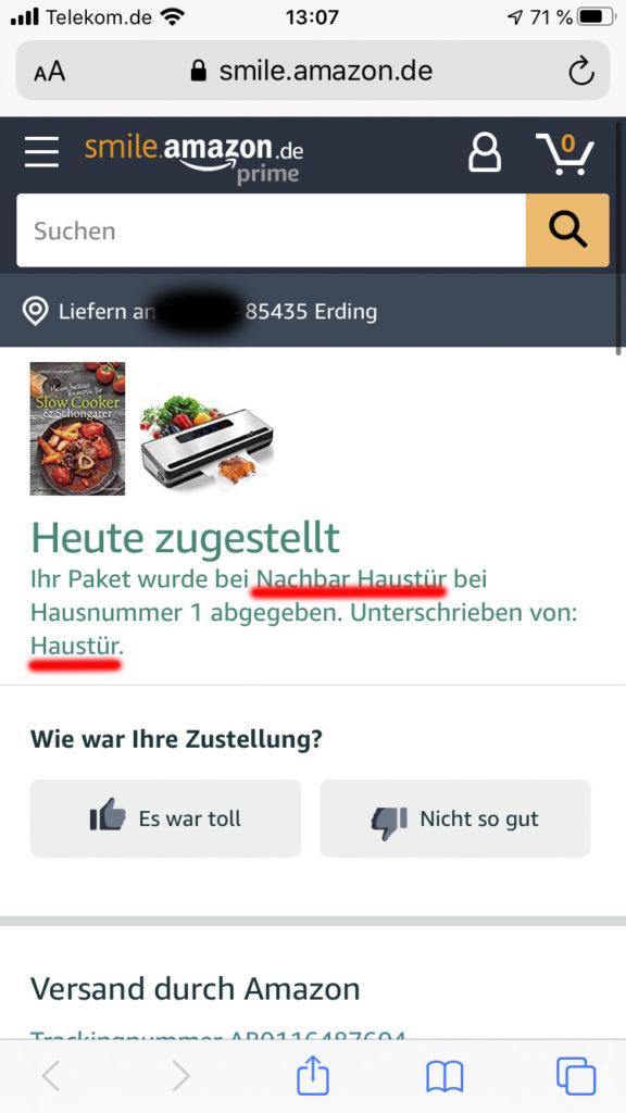 Zustellnachricht von Amazon