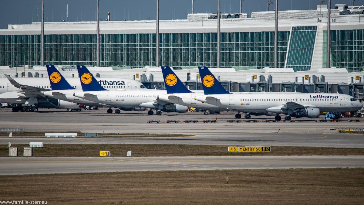 abgestellte Flugzeuge mit roten Triebwerksabdeckungen vor dem Satelliten des Terminals 2 am Flughafen München