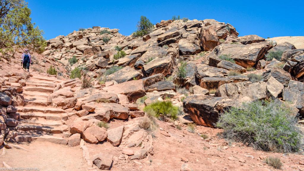 Wanderweg zum Delicate Arch Trail im Arches National Park in Utah