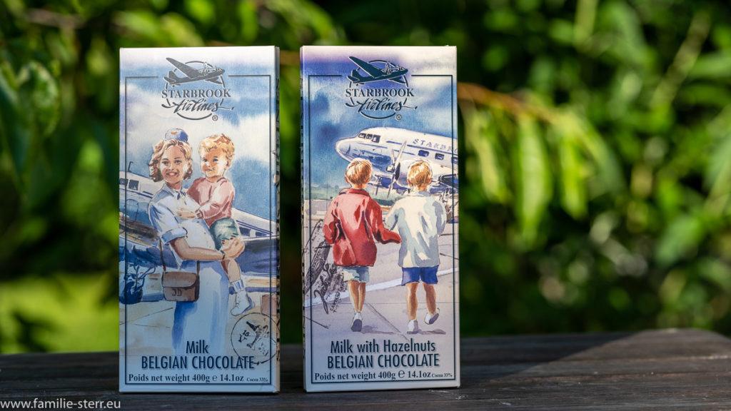 2 große 400gr - Tafeln belgische Schokolade in Verpackungen mit Flugzeug - Motiven (Vollmilch und Haselnuss)