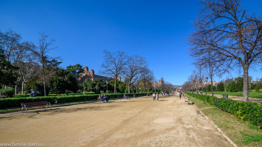 Weg durch den Parc Ciutadella in Barcelona