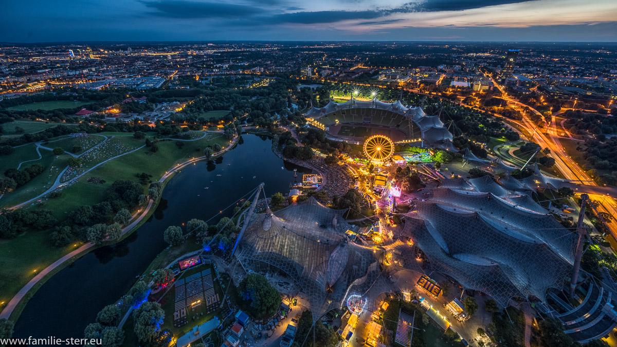 Ausblick vom Olympiaturm in München über das imPark Sommerfestival 2019 in München