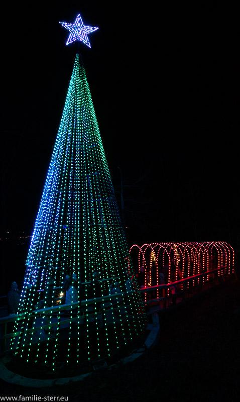 großer Lichter Weihnachtsbaum mit angrenzendem Lichtertunnel in den Rock City Gardens