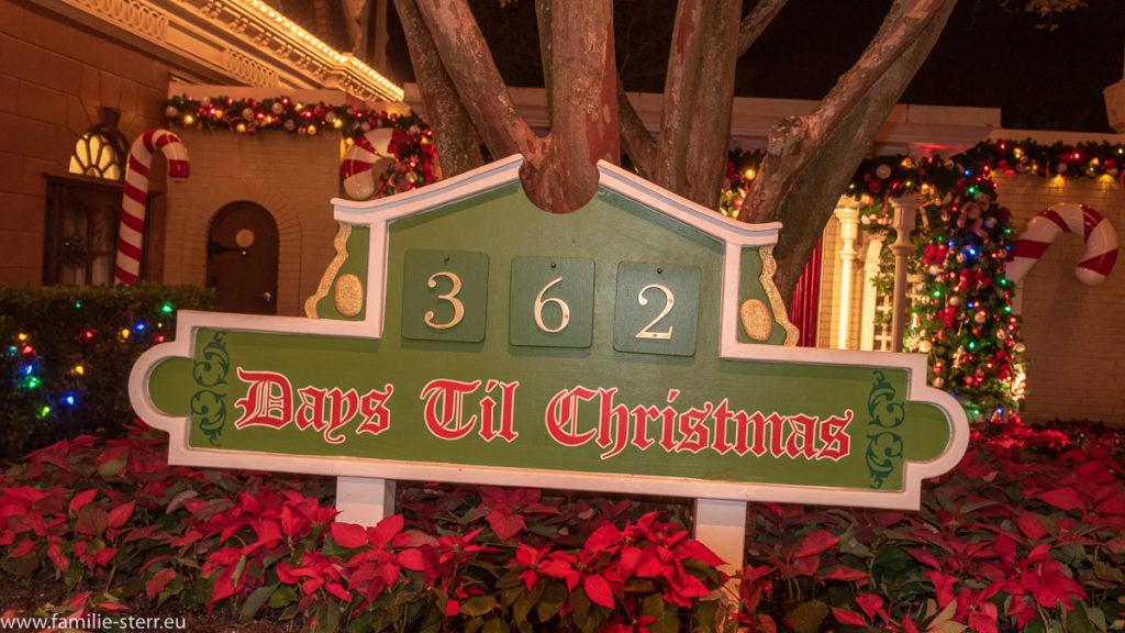 """Schild """"362 Days till Christmas"""" in einem Beet mit roten Weihnachtssternen"""