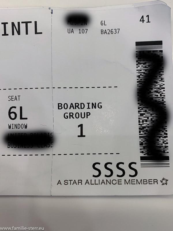 "Boarding Pass mit ""SSSS"""