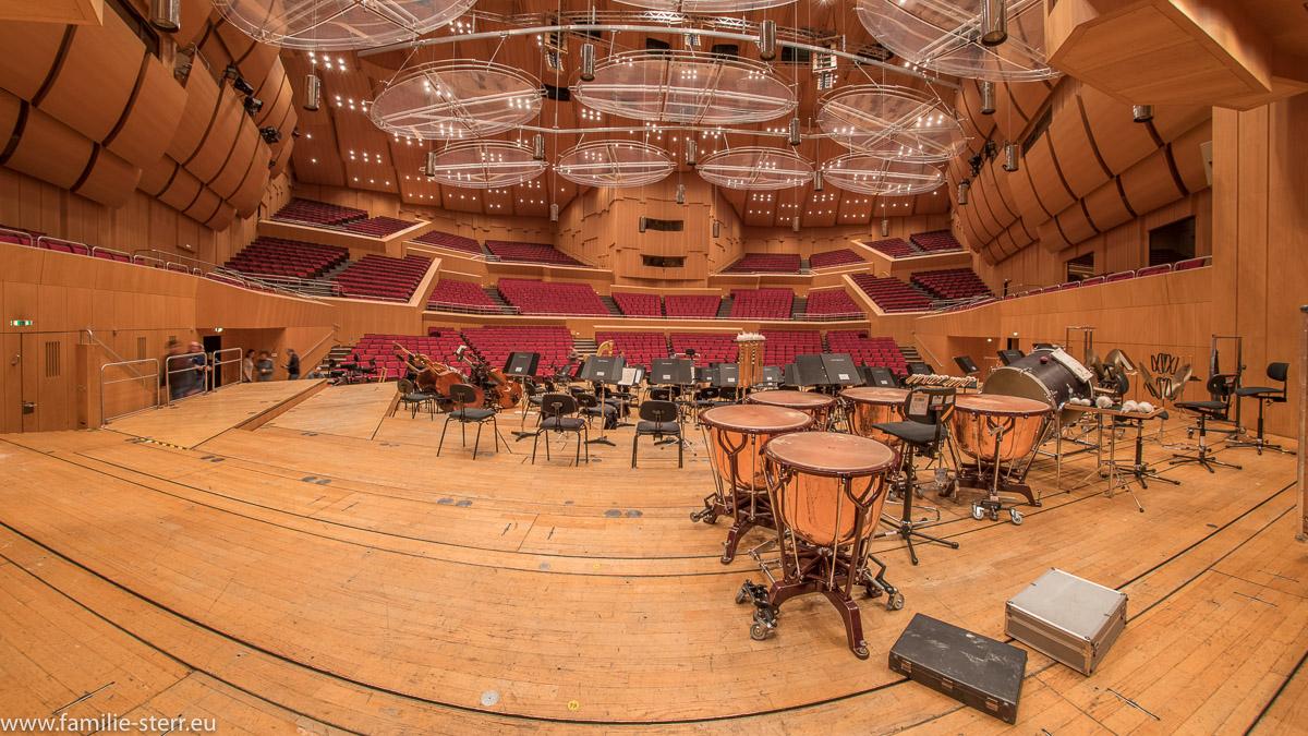 Blick von der Bühne der Philharmonie im Gasteig München in den leeren Zuschauerraum