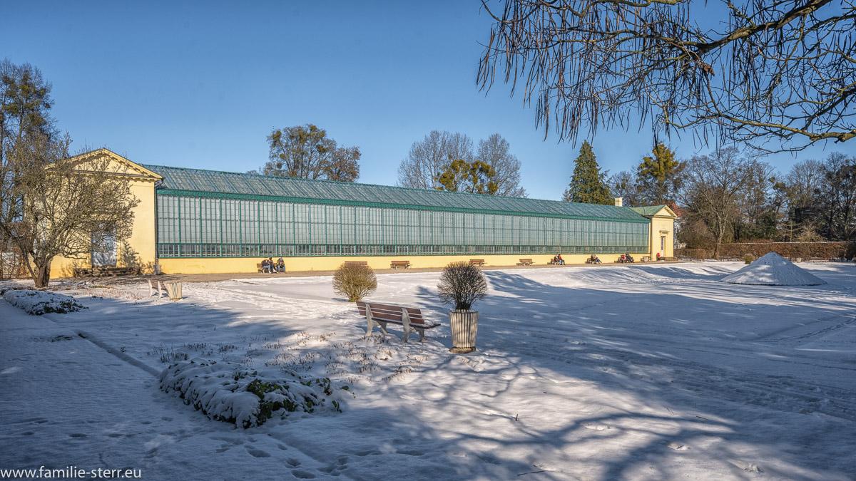 das Geranienhaus im winterlichen Schlosspark Nymphenburg