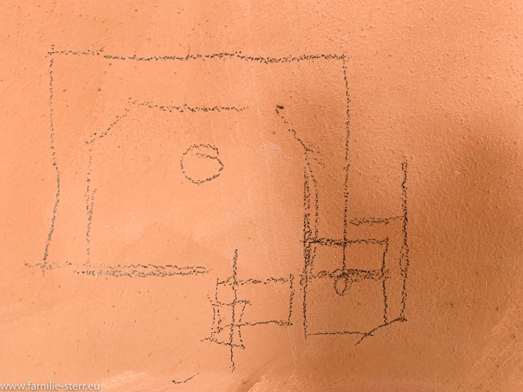 eine Skizze an der zukünftigen Küchenwand