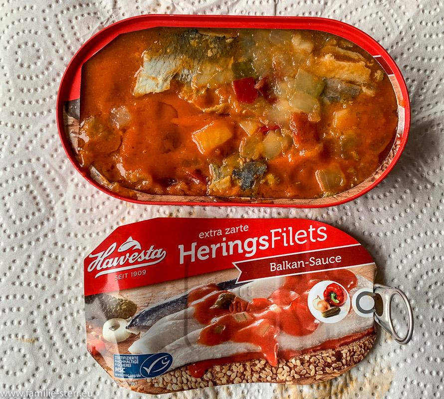 eine Dose Heringsfilets in Tomatensauce Balkan Art von Hawesta