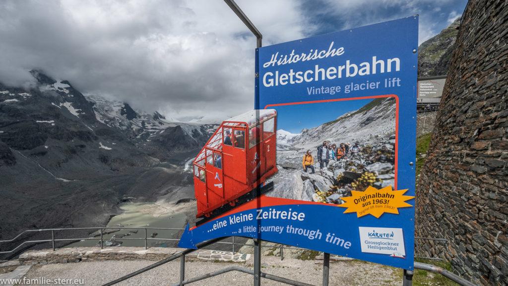 Schild an der Bergstation der historischen Gletscherbahn zur Pasterze am Großglockner